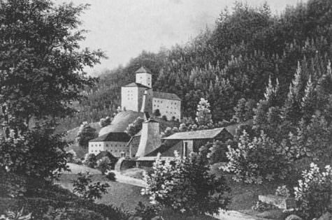 Schloss Waldenstein im Jahre 1835, nach Lithographie von Josef Wagner